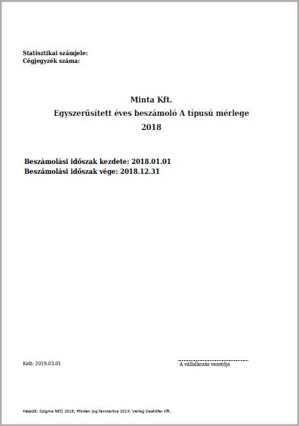 Egyszerűsített éves beszámoló